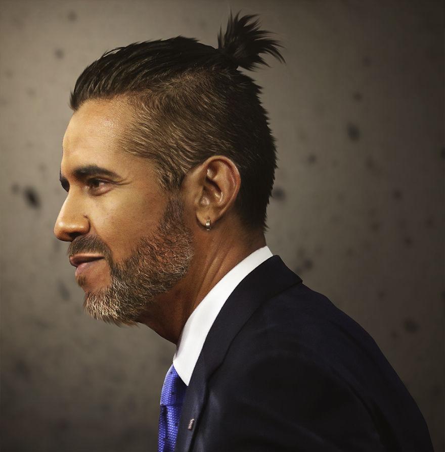 Барак Обама с хвостом из волос