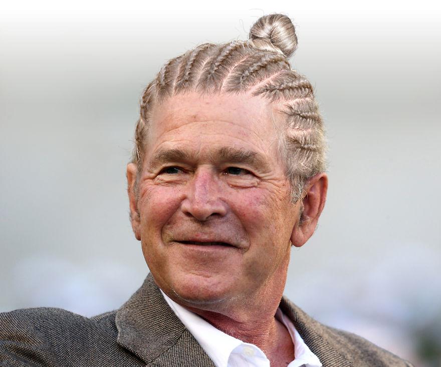 Джордж Буш младший с хвостом из волос