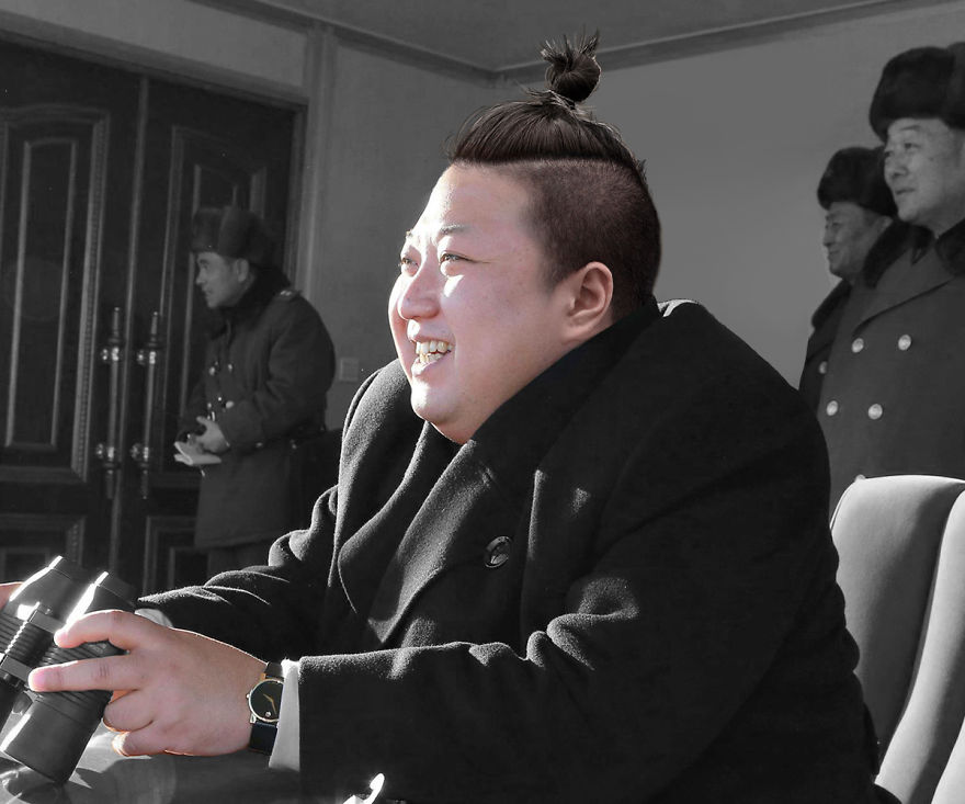 Ким Чен Ын с хвостиком из волос