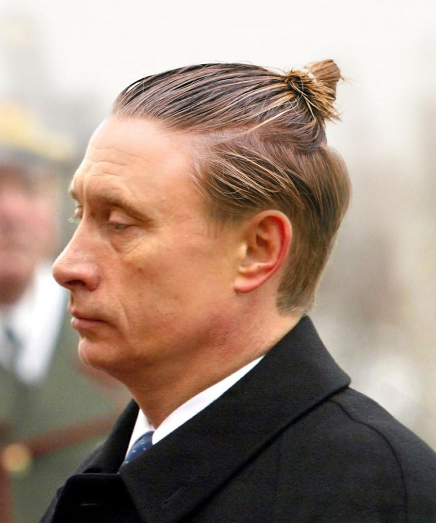 Владимир Путин с хвостиком из волос