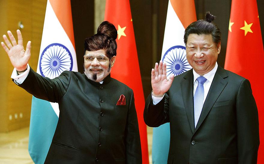 Нарендра Моди и Си Цзиньпин с хвостом из волос