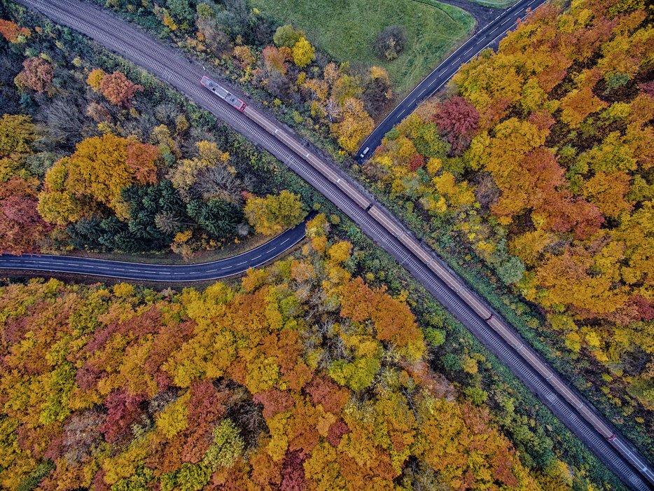 Осенний пейзаж, Бергвинкель, Германия. Фото с высоты