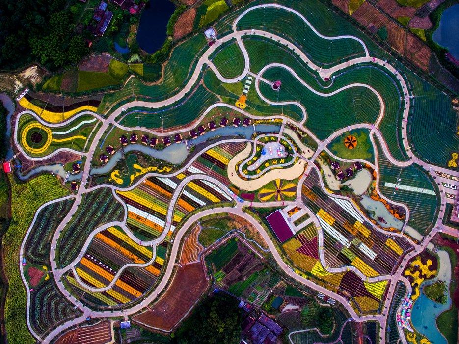 Наземное граффити, Шаогуань, провинция Гуандун, Китай, Фото с высоты