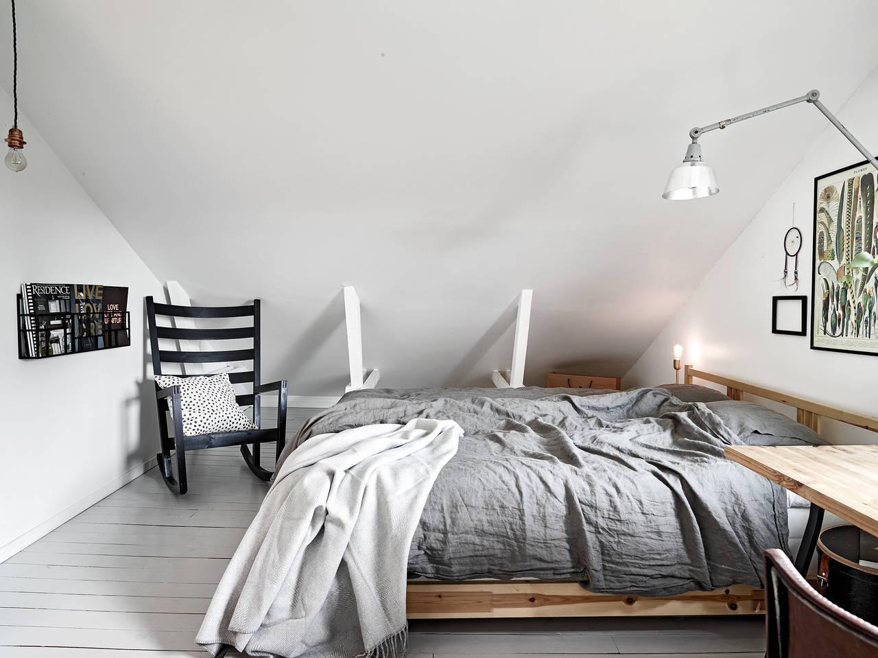 Скандинавский дизайн спальни в шведской квартире