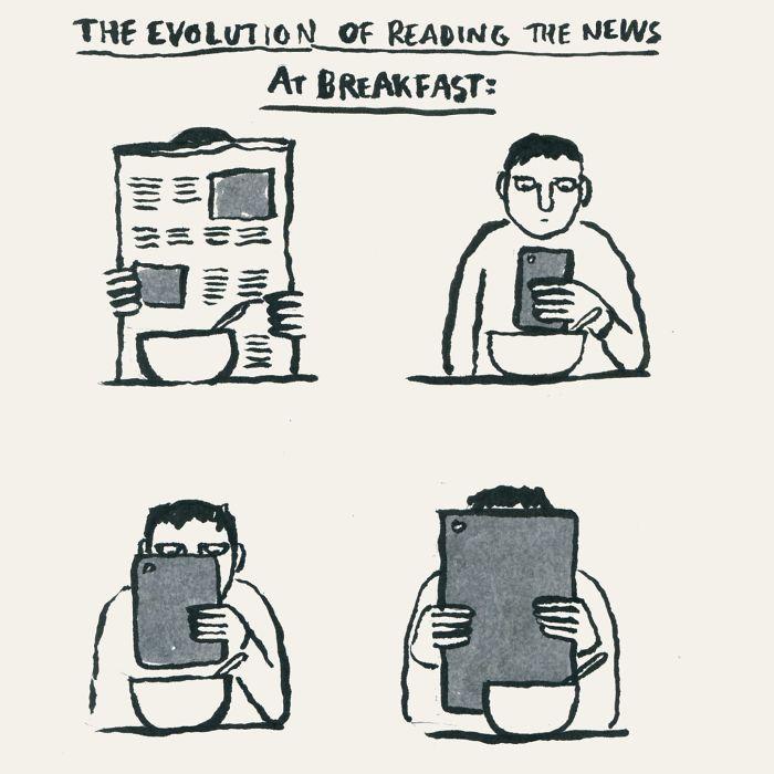 Эволюция чтения новостей за завтраком