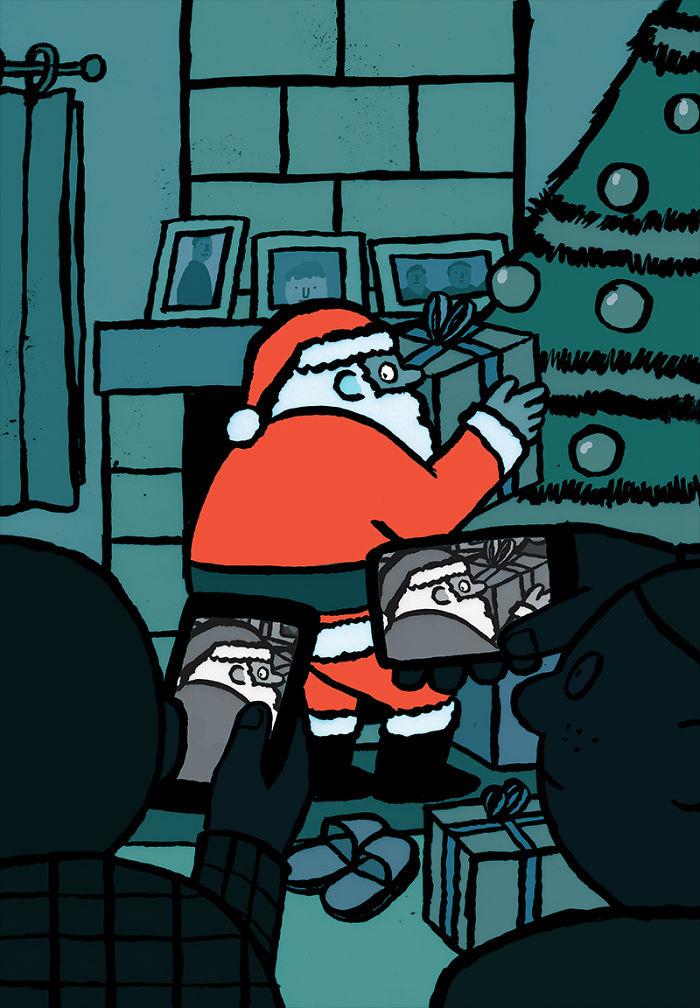 Дед мороз ставит подарки под елку