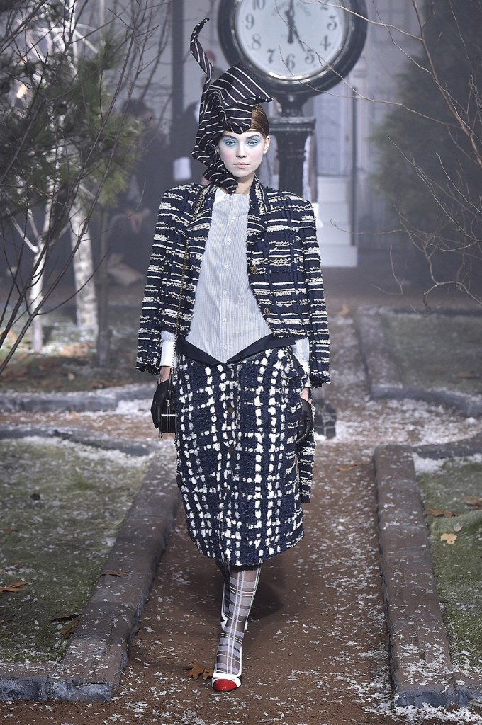A model walks the runway at the Thom Browne