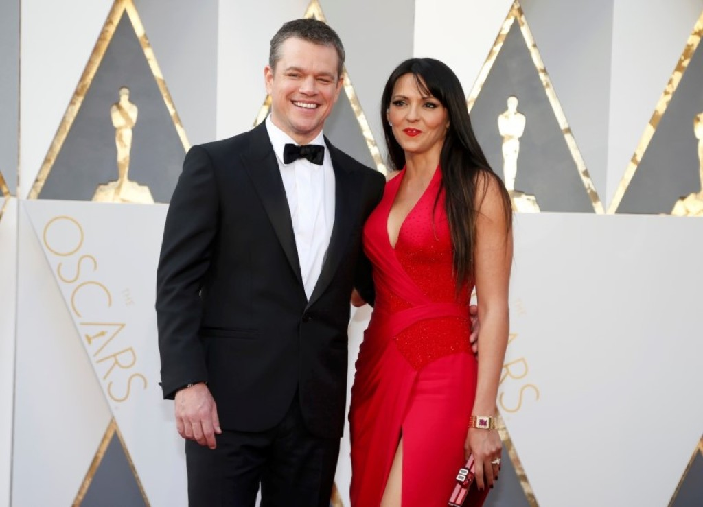 Matt Damon, nominated for Best Actor arrives with his wife Luciana Barroso