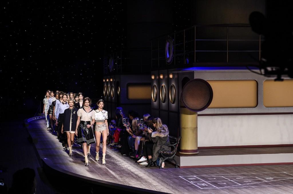 Models walks the runway wearing Tommy Hilfiger