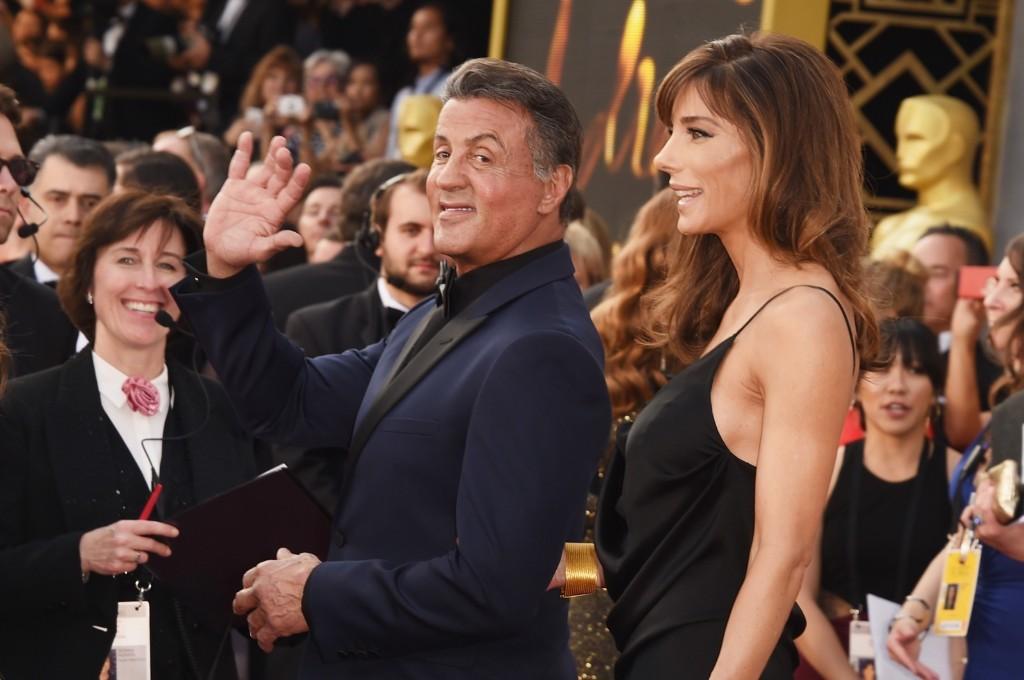 Sylvester Stallone and Jennifer Flavin arrive