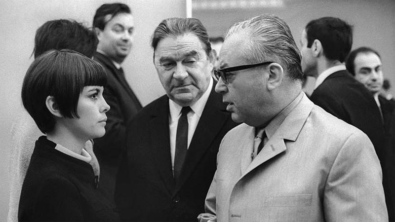 Мирей Матье, Леонид Утесов и Никита Богословский 1967 год