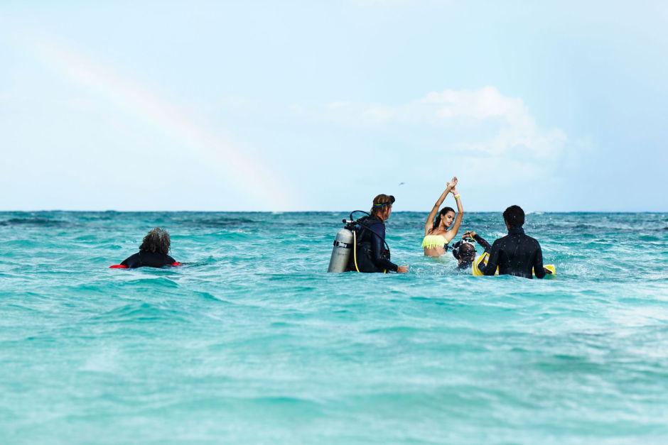 Съемка в море для Victoria's Secret