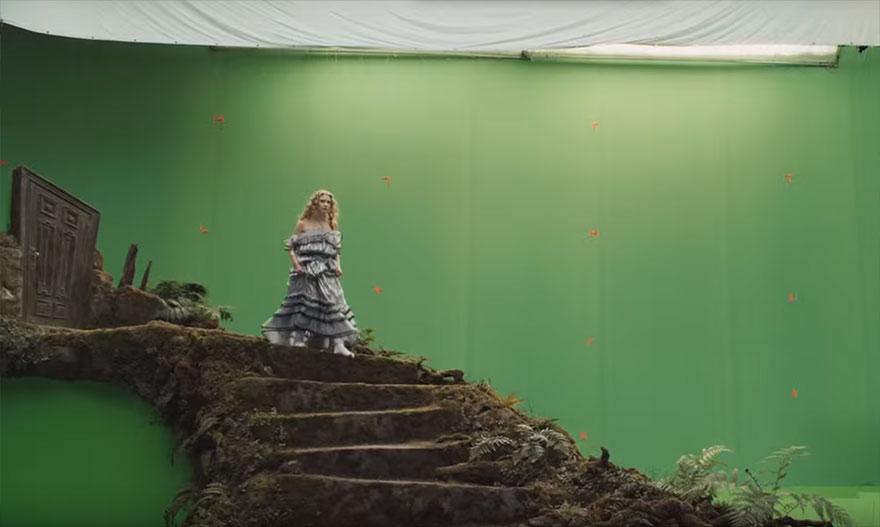 Алиса в стране чудес, кадры из фильма до постпродакшена