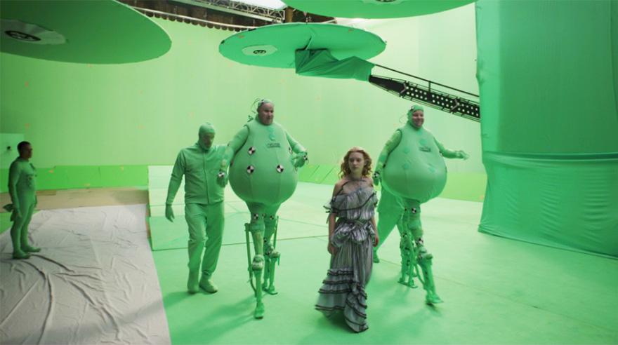 Алиса в Стране чудес, кадр из фильм до постпродакшена