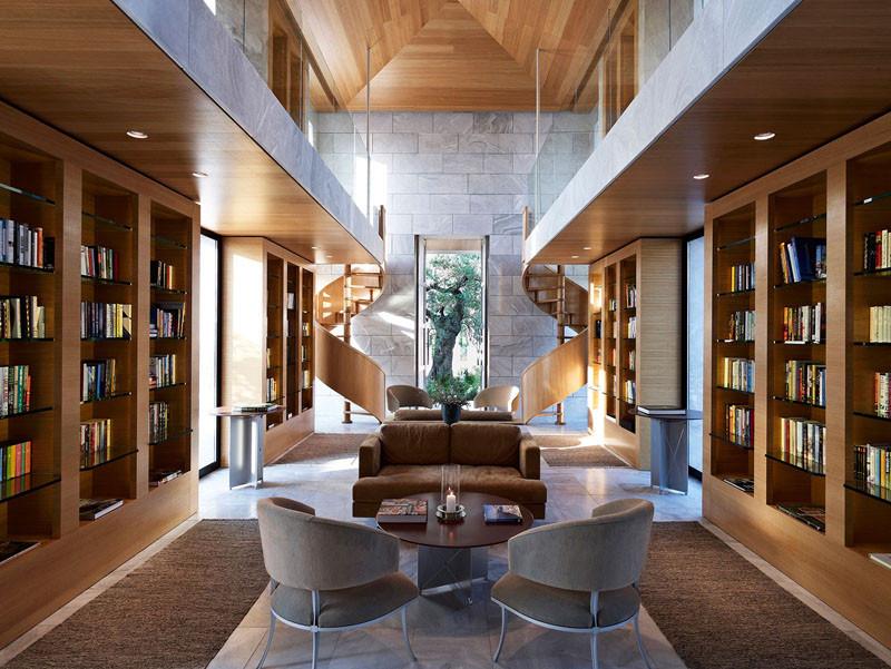 Library Amanzoe Hotel. Poros Island, Greece
