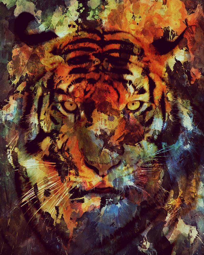 Картины акварелью, тигр, животные