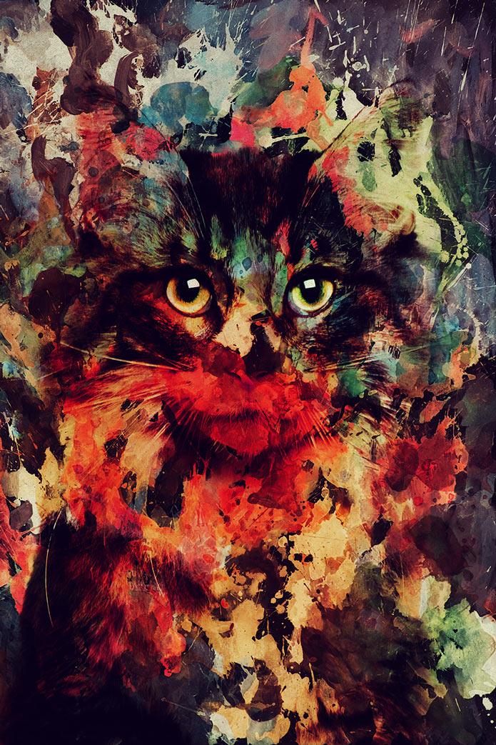 Картины акварелью, кошка, животные