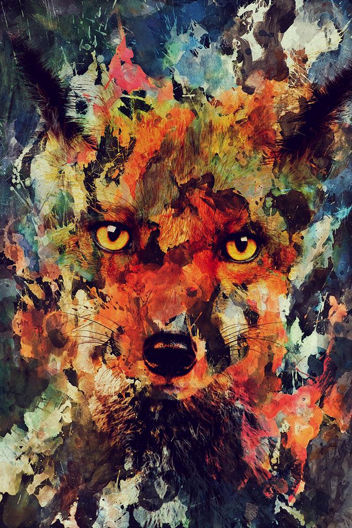 Картины акварелью, лиса, животные