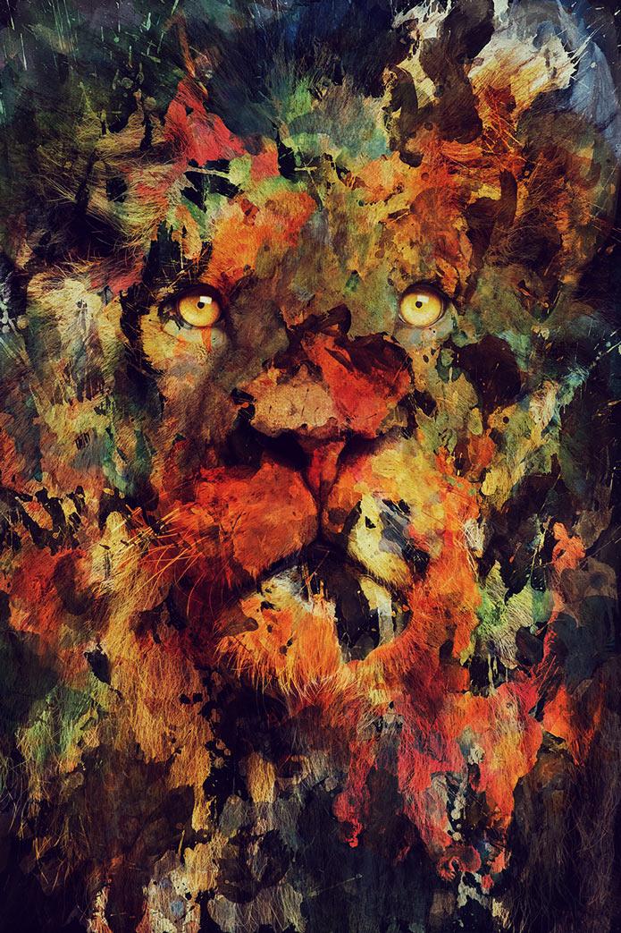 Картины акварелью, лев, животные