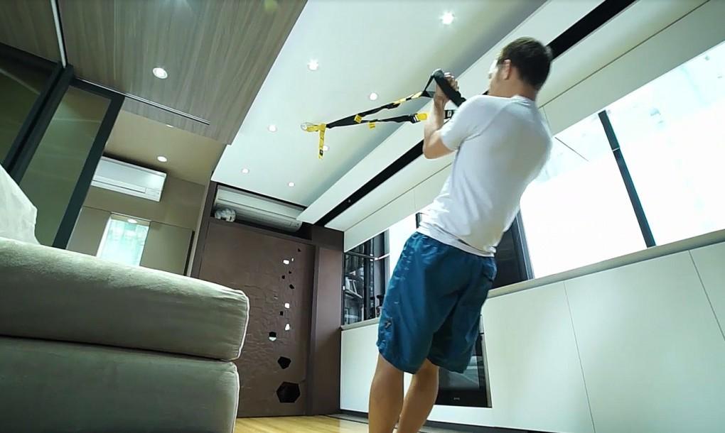 Мини-дом-трансформер приспособлен для занятий спортом