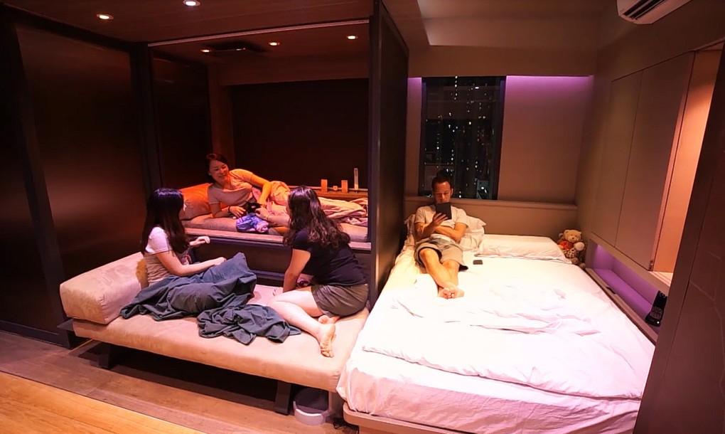 Мини-дом-трансформер имеет три кровати