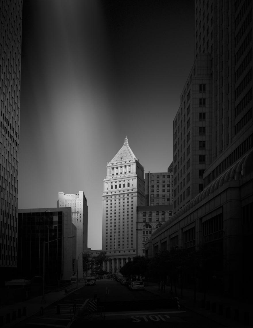New-York Manhattan Courthouse. Black & white photo.