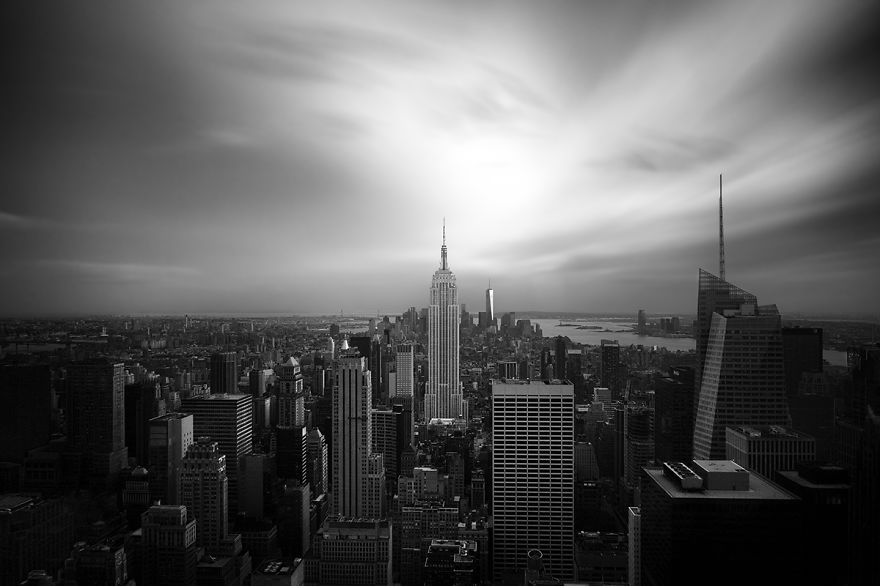 New-York Empire State Building. Manhattan view. Black & white photo.