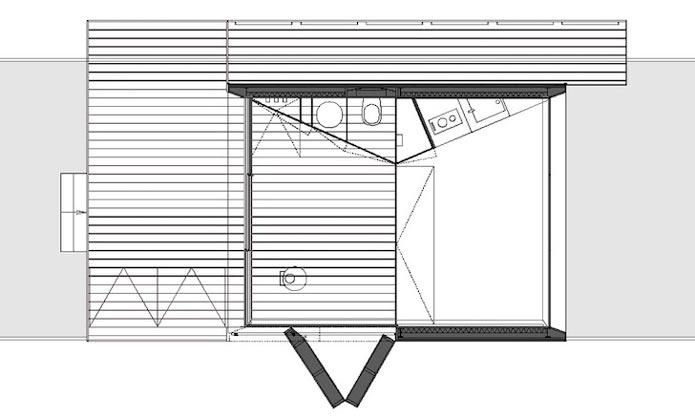 План-схема мини-дома с раздвижным фасадом
