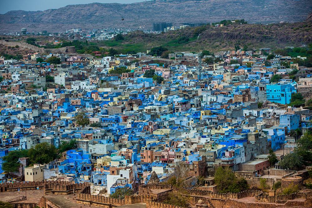 Джодхпур, вид на голубой город сверху