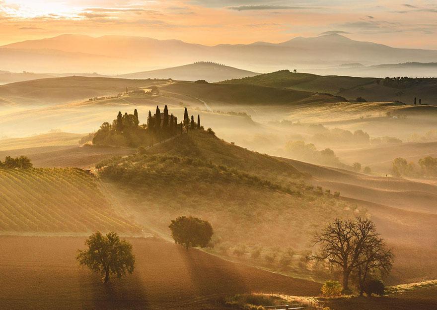 Золотой восход, Тоскана, Италия, конкурс фотографий National Geographic трэвел-фотограф года 2016