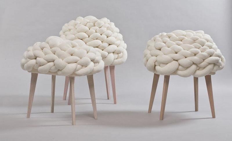 Вязаный декор, вязаные сиденья для табуретов из толстой нити