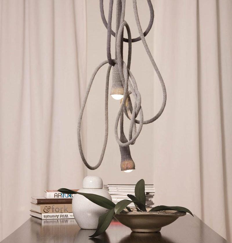 Вязаный декор, вязаный светильник