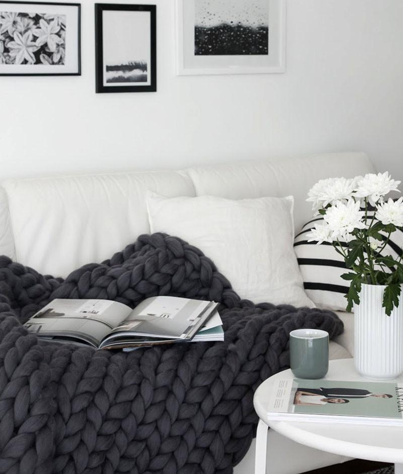 Вязаный декор, плед, накидка на диван из толстой нити