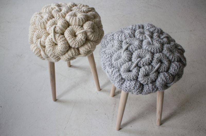 Вязаный декор, сиденья для табуретов