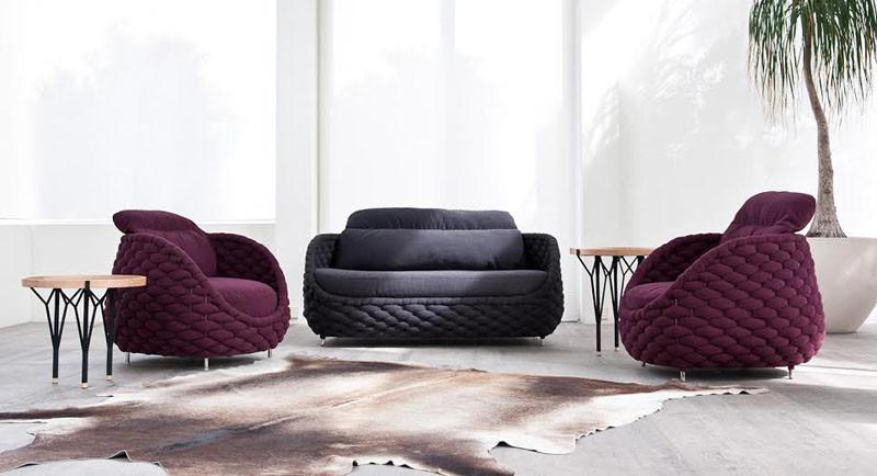 Вязаный декор, диван и кресла