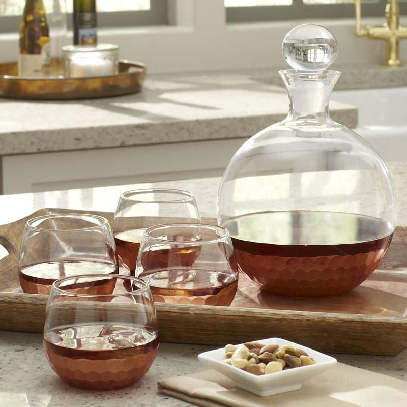Графин и стаканы для алкогольных напитков, набор из пяти предметов. Chauncey 5-Piece Round Decanter Set from Birch Lane