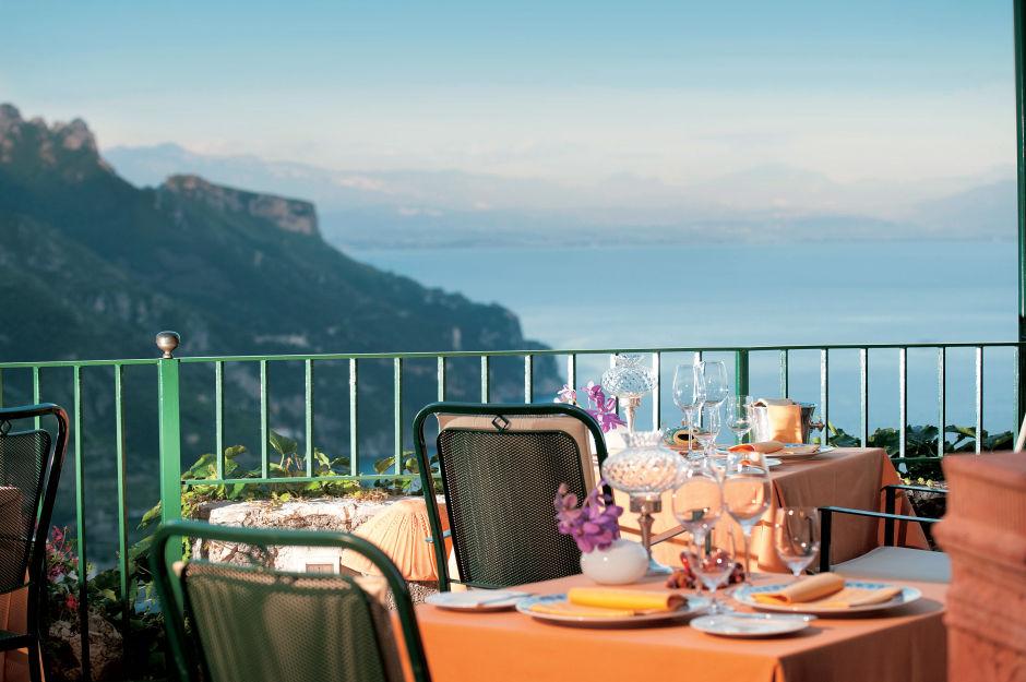 Hotel Palazzo Avino restaurant view