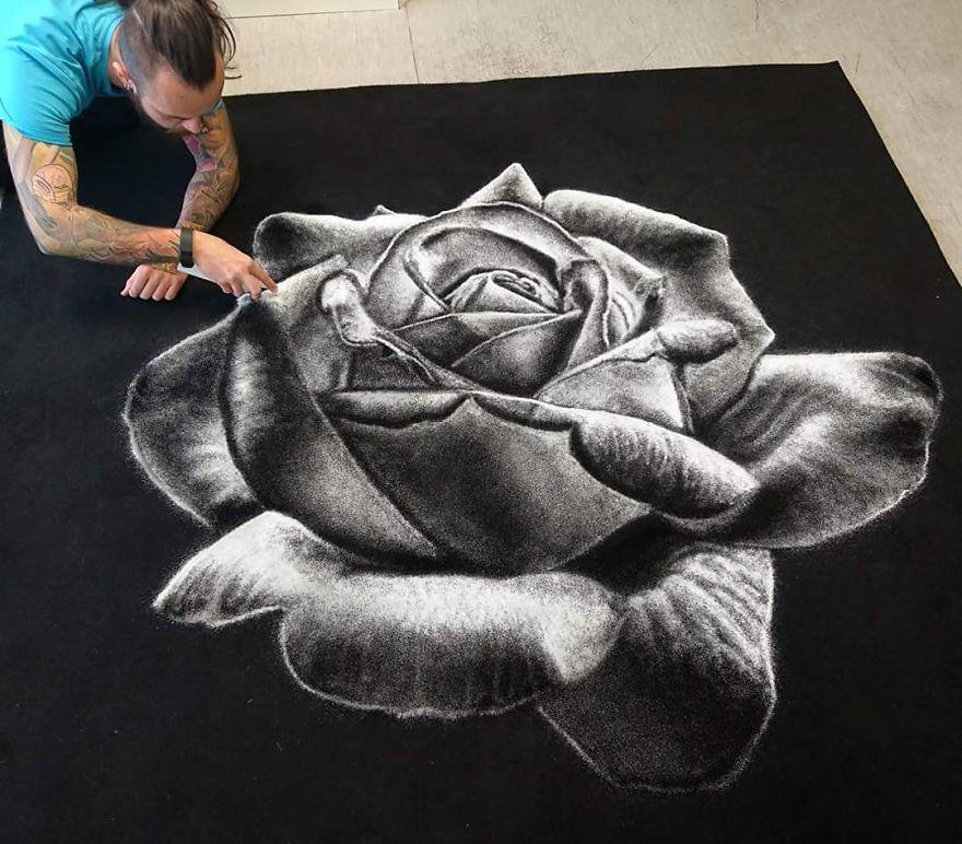 Рисунок солью роза, автор Дино Томич