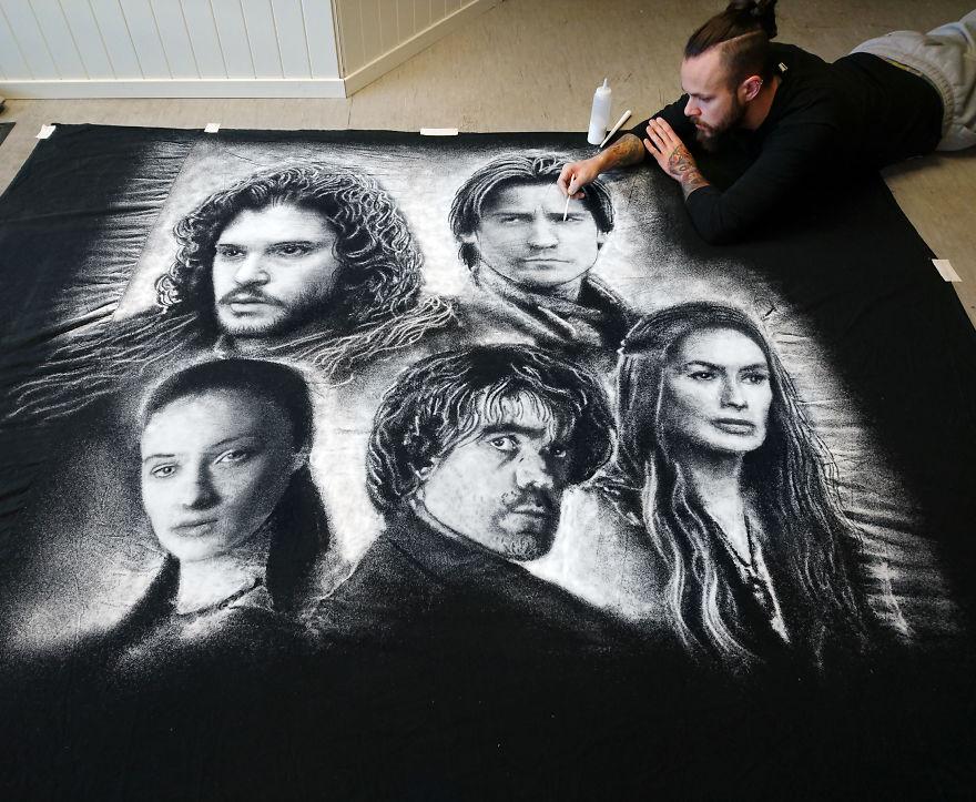Групповой портрет героев сериала Игра престолов, рисунок солью Дино Томича