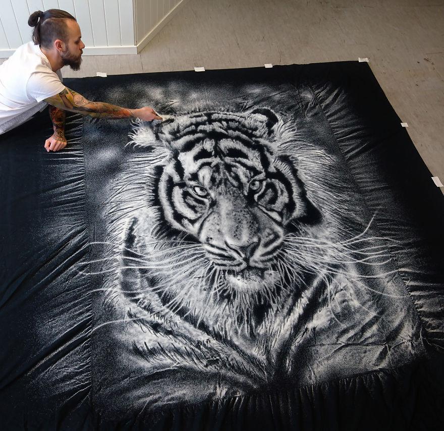 Тигр, рисунок солью Дино Томича
