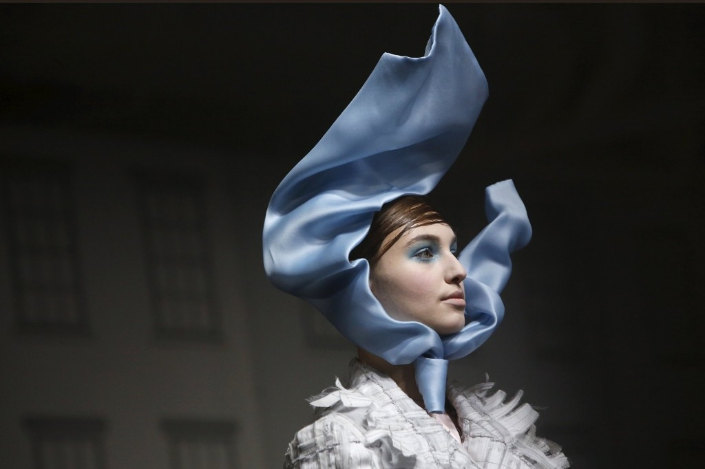 A model presents a creation from the Thom Browne