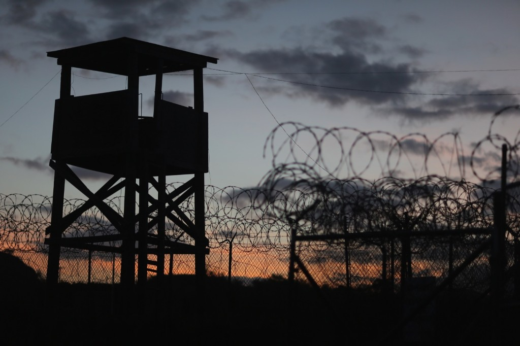 A watch tower at Camp X-Ray, which was the first detention facility to hold enemy combatants