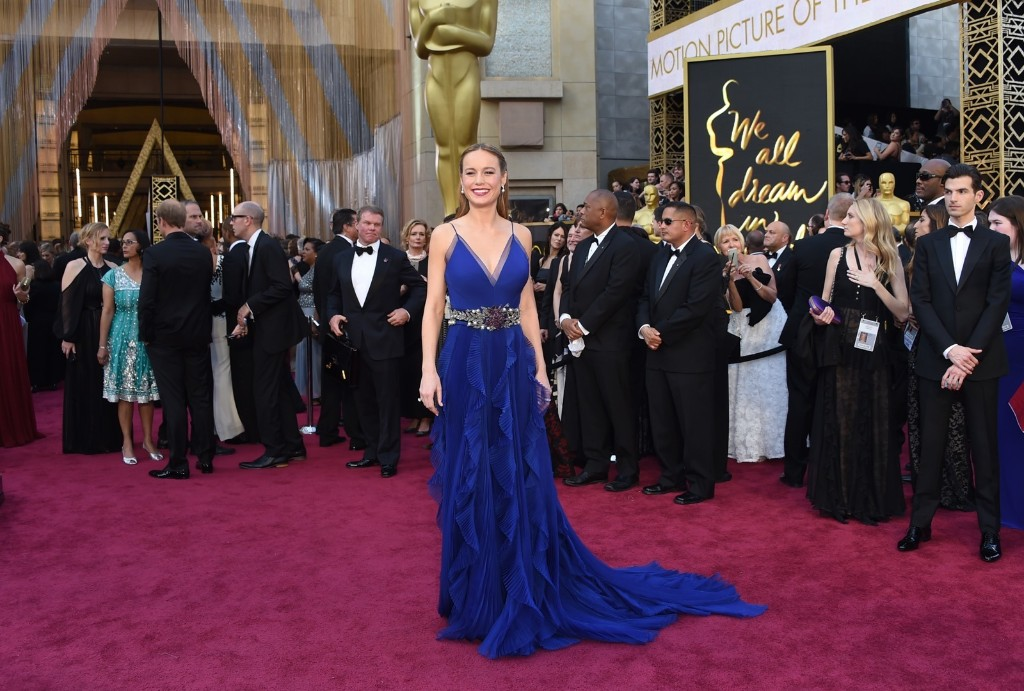 Brie Larson arrives for the Oscars at the Dolby Theatre