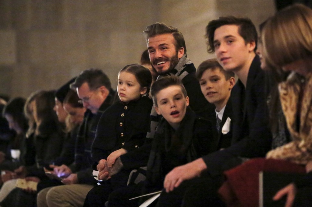 David Beckham in the front row at the Victoria Beckham Fall/Winter 2016 collection presentation with children Harper, Cruz, Romeo and Brooklyn