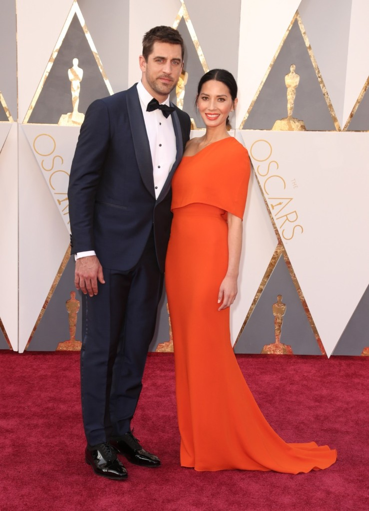 Packers quarterback Aaron Rodgers and Olivia Munn attend the 88th Annual Academy Awards