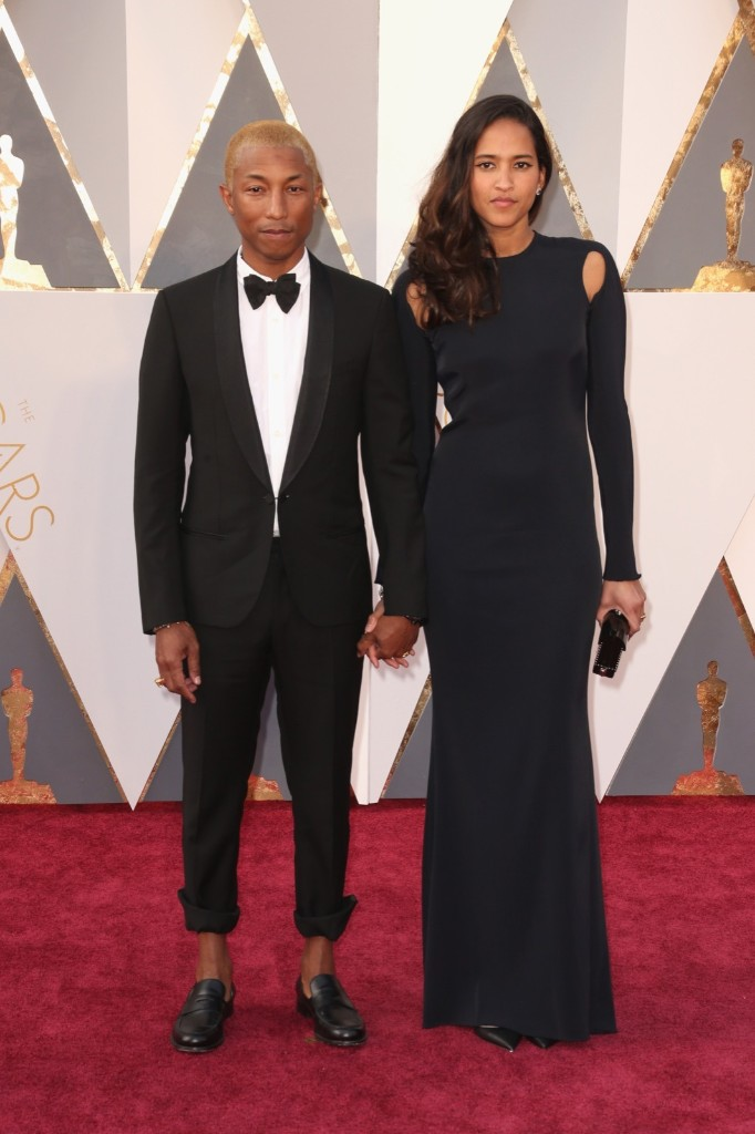 Pharrell Williams and Helen Lasichanh attend the 88th Annual Academy Awards