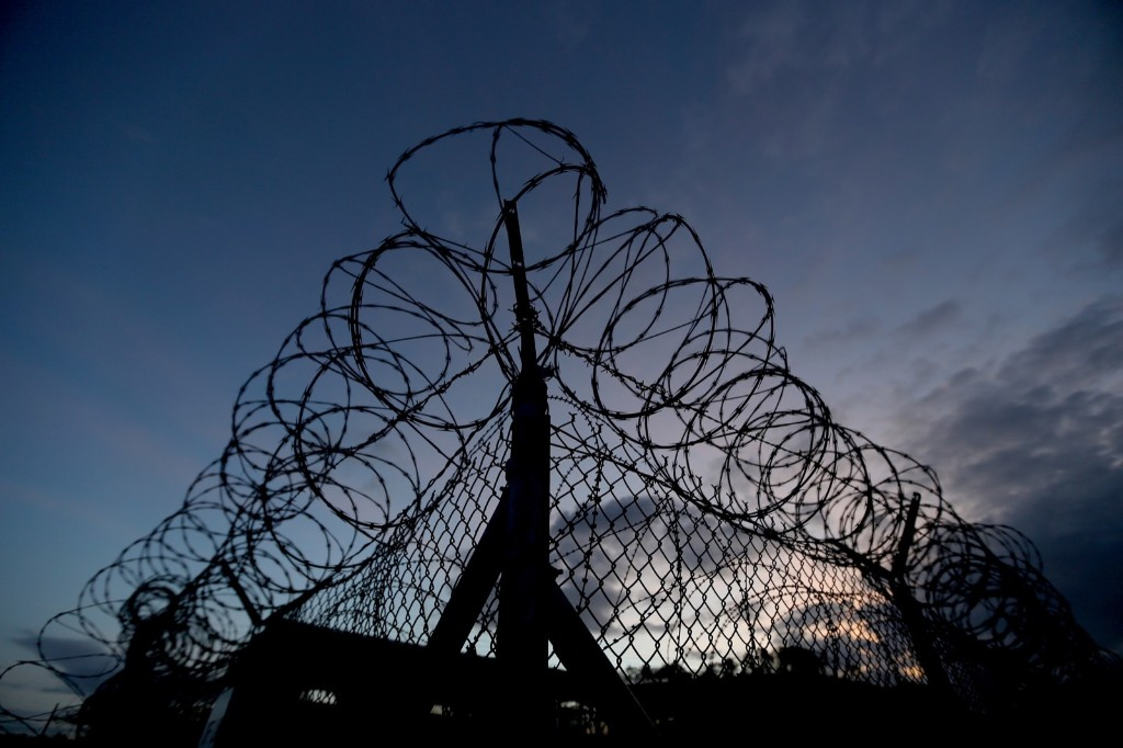Razor wire on the fence around the currently closed Camp X-Ray