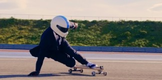 Someone Power-Drift A Skateboard At 100 kmph In A Suit