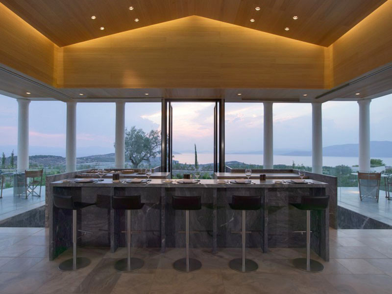 Restaurant in Amanzoe Hotel. Poros Island, Greece