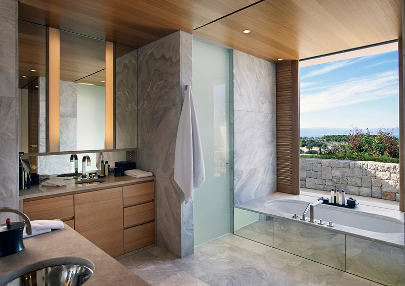 Bathroom in Amanzoe Hotel. Poros Island, Greece